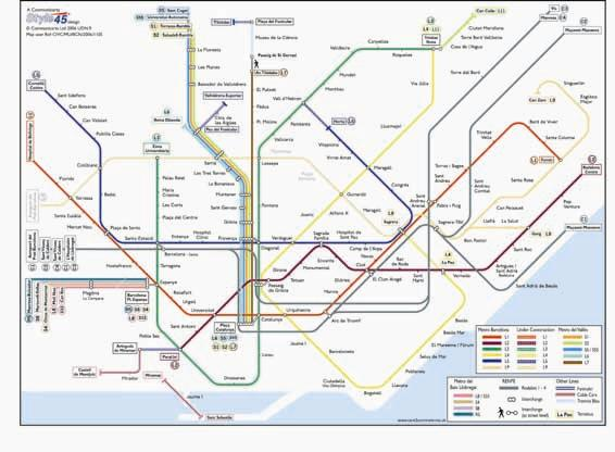 Barcelona Transport Map Spain Metro Funicular and Tram Map Map