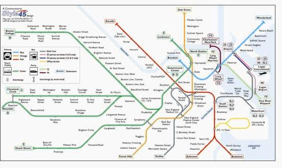 Boston Transport Map, USA. Subway, Trolley, Bus and Ferry Map | Map ...