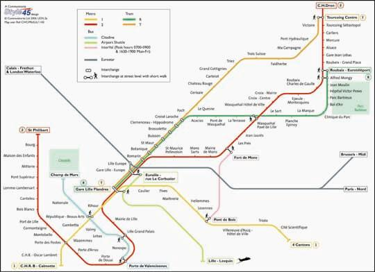 France Subway Map.Lille Transport Map France Tram Bus And Metro Map Map Stop