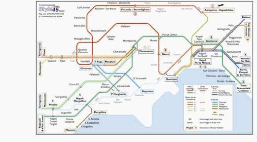 Naples Transport Map Italy Metro Funicular Suburban And