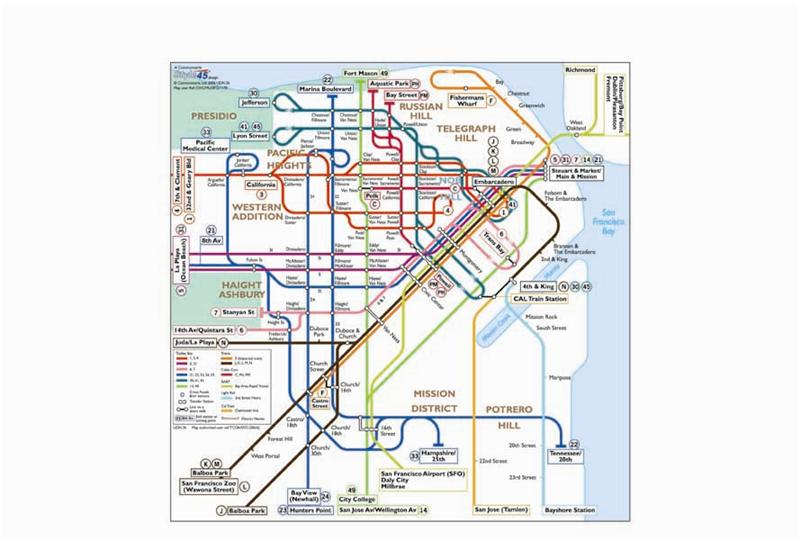 San Francisco Transport Map, USA. Trolley, Cable Car, Tram, BART and on