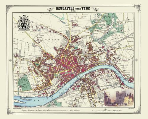Newcastle Upon Tyne 1858 Victorian Town And Village Map Heritage