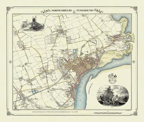 North Shields Tynemouth Victorian Town And Village Map - Victorian world map