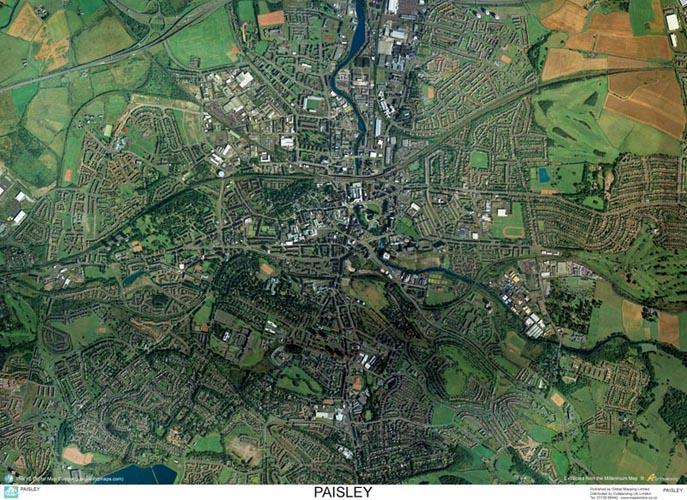 SkyView Paisley Aerial Photo Scotland  Map Stop  Top maps at a