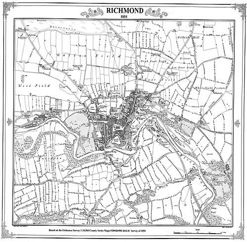 Richmond 1854 North Yorkshire  Victorian Town and Village Map