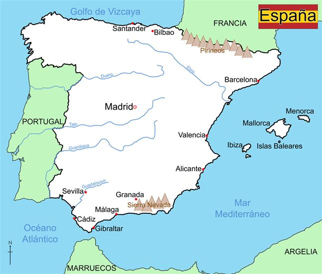 Map Of Spain Mountains.Map Of Spain Wildgoose Map Stop Top Maps At A Reasonable Price