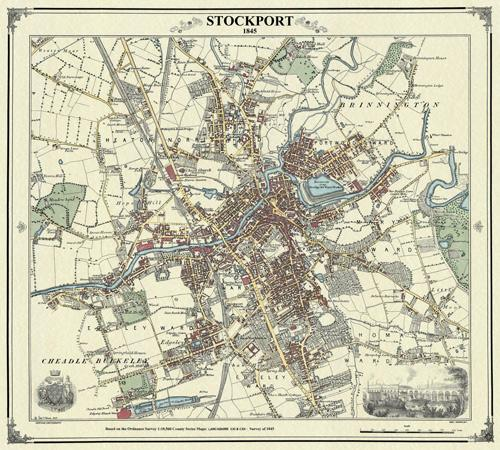Stockport 1845 Cheshire Victorian Town and Village Map Heritage