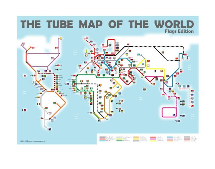 Tube Map Of The World Flags Edition Map Stop Top Maps At A
