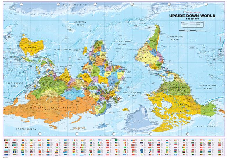 Political world upside down wall map global mapping wall map gumiabroncs Gallery