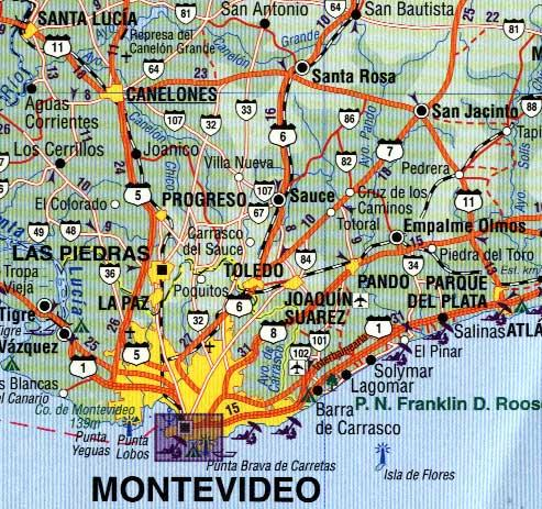UruguayMontevideo South America ITMB International Travel Maps - Montevideo map