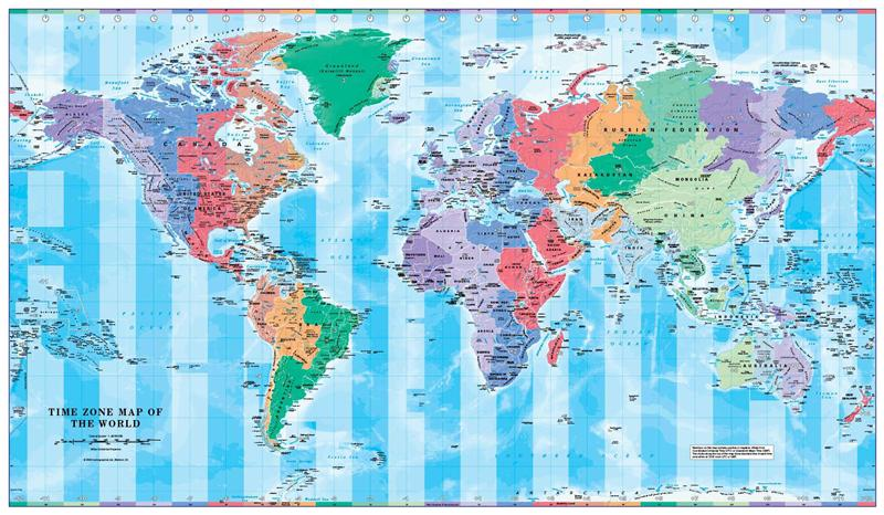 World Time Zone Map Satin Photo Paper Cosmographics Map Stop