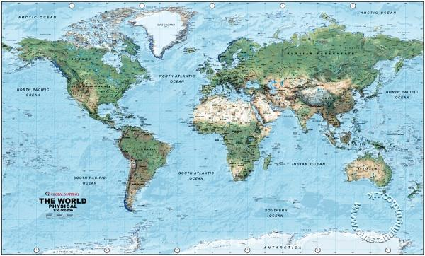 Perfect ... Physical World Wall Map, Medium   Global Mapping   Wall Map