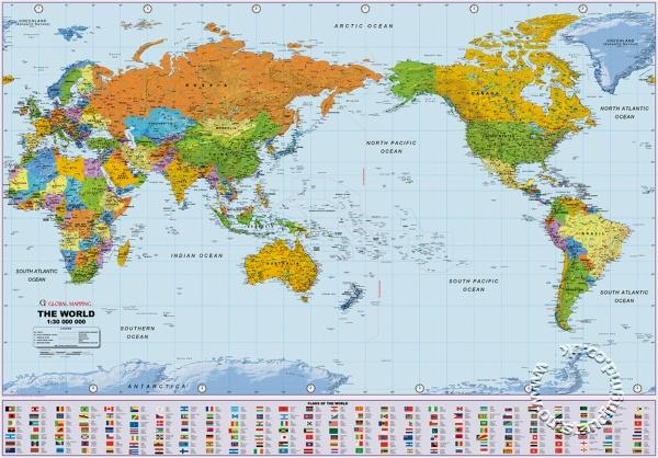 Political World Wall Map Large Pacific Centered Wall Map Global Mapping