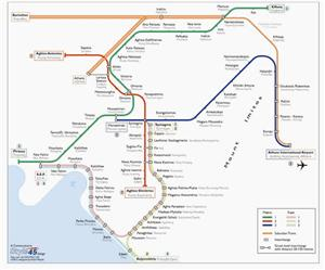 Athens Transport Map, Greece. Tram and Metro Map