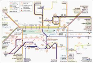Edinburgh Transport Map, United Kingdom. Bus and Railway Map