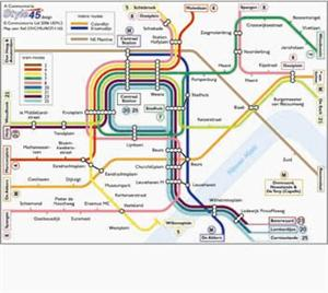Rotterdam Transport Map, Holland. Tram and Metro Map