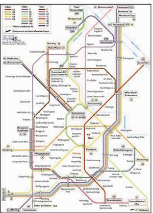 Vienna Transport Map, Austria. Tram and Metro Map