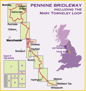 Pennine Bridleway South map - Derbyshire to South Pennines, England- Harvey Maps