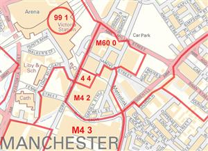 Manchester Postcode Sector Map - COLOUR - Latest Edition