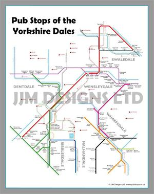 Pub Map of Yorkshire Dales, England - Tube Maps