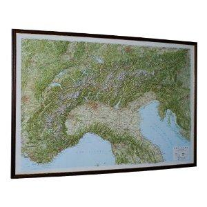 Alps Raised Relief Map - Dark Frame