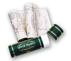 Map of the River Thames, England 1893, Scrolled in gold Blocked Tube, Historical Map - Old House Boo