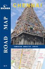 Chennai Road Map and Guide. India, Asia