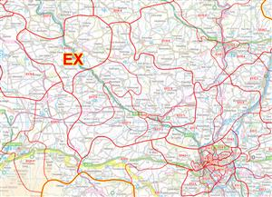 02 Devon, Dorset & Somerset - Postcode Sectors Map