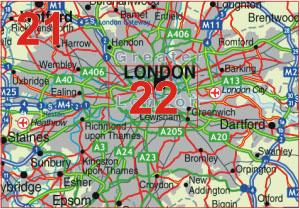 21 Greater London - Postcode Sectors Map - GIF FILE
