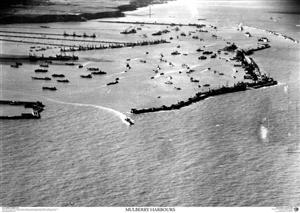 SkyView DDay Mulberry Harbour Aerial Photo-Northern France