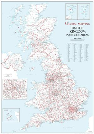UK Postcode Area Map, Global Mapping