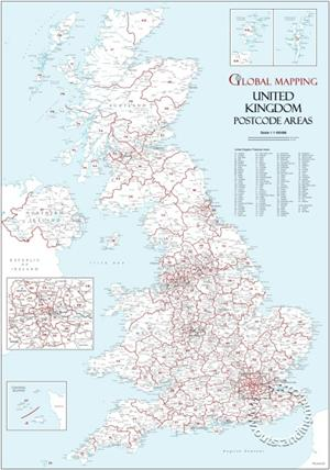 UK Postcode Area Map GIF - Digital download