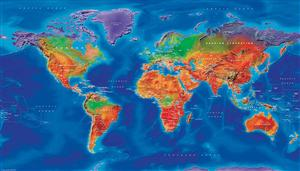 World Map, Artistic, 1:30m, Satin Photo Paper - Cosmographics