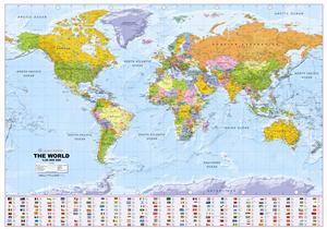 Political World Wall Map, Small, Corporate - Global Mapping