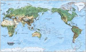 Physical World Wall Map, Large - Pacific Centered Wall Map - Global Mapping