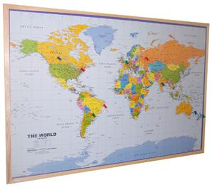 World Wall Map, Pinboard, Pine effect frame - Global Mapping - Wall Map