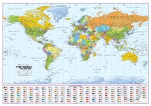 Political World Wall Map, Small - Global Mapping - Wall Map