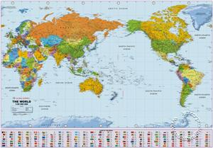 Political World Wall Map, Large - Pacific Centered Wall Map - Global Mapping